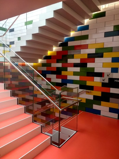 Even the Lego House staircases have a Lego theme.
