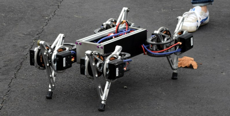 A quadruped bot takes a stroll through the Motion Capture Arena
