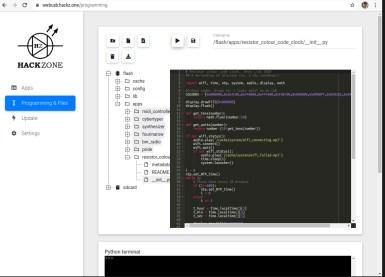 The code editor and Python shell