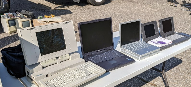 Laptops from various eras.