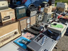 A number of tables had an array of classic radios.