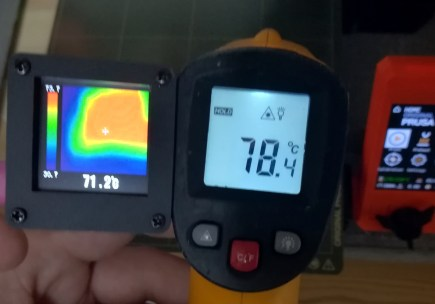Comparing the calibration with another thermometer and a Prusa build plate at 86 degrees.