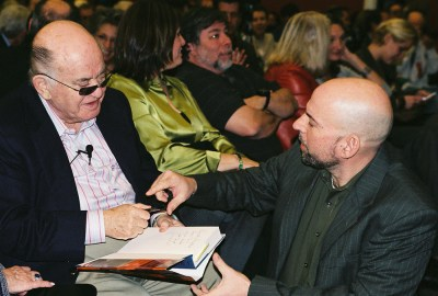 Bil Herd speaks with Jack Tramiel at the 25th Anniversary of the Commodore 64.