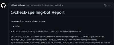 check-spelling-bot giving away secrets