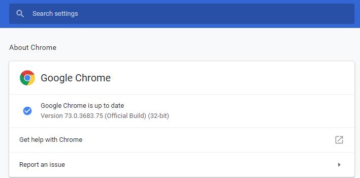 Chrome Browser Version 73