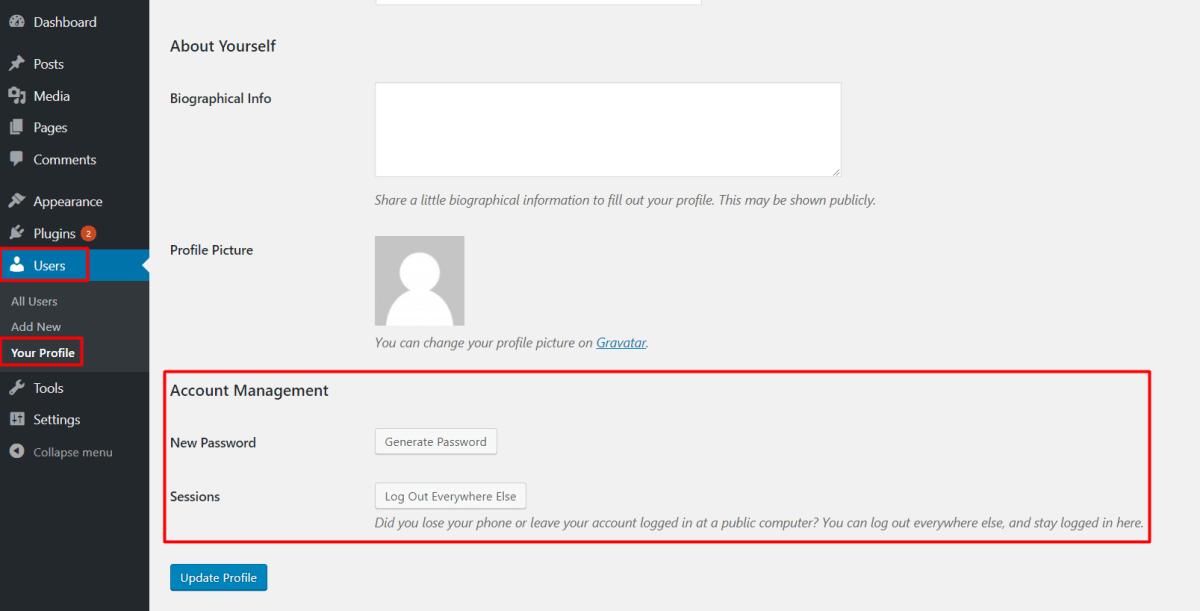 Wordpress User Profile Password Change