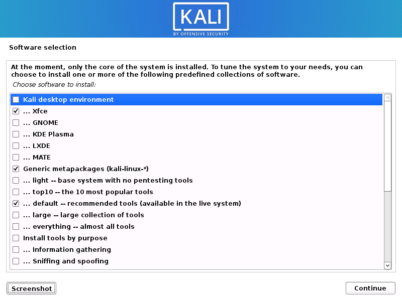 Kali Linux 2020 software selection