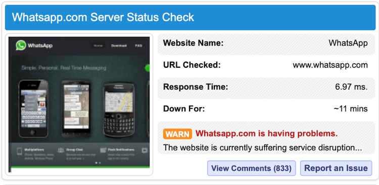 WhatsApp Server down