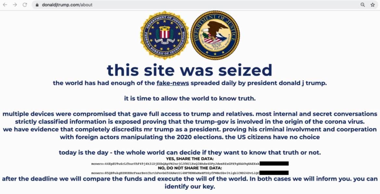 Trump campaign website hacked