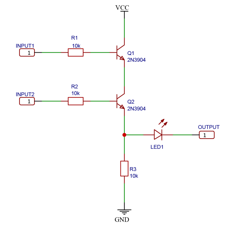 Schematic drawing of a logic AND gate using NPN BJT transistors