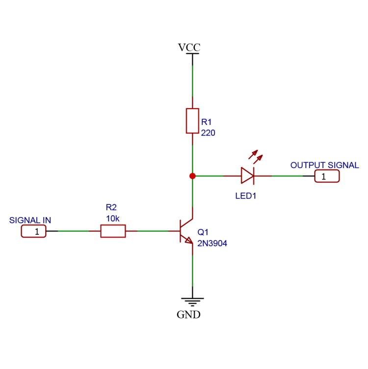 Schematic drawing of a logic NOT gate using NPN BJT transistors