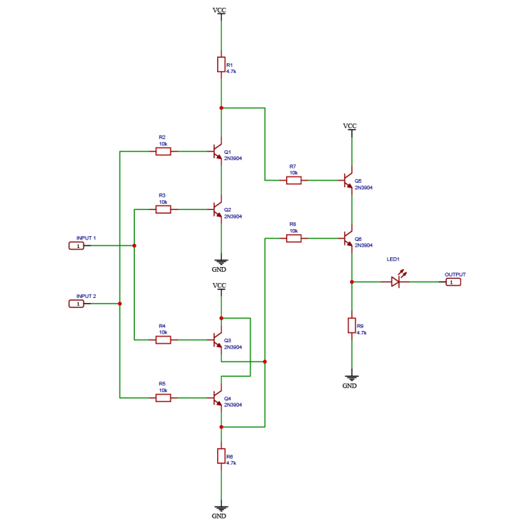Schematic drawing of a logic XOR gate using NPN BJT transistors