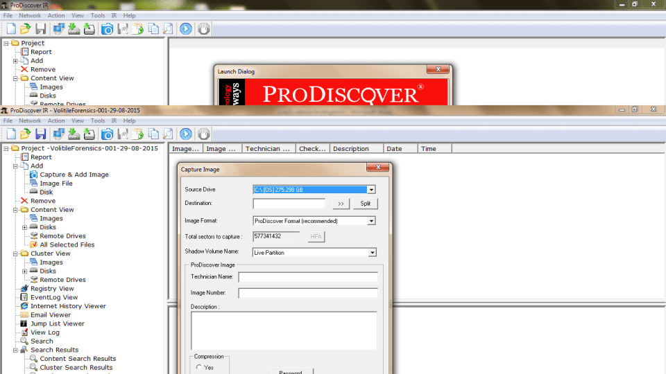ProDiscover Incident Response Capture Image