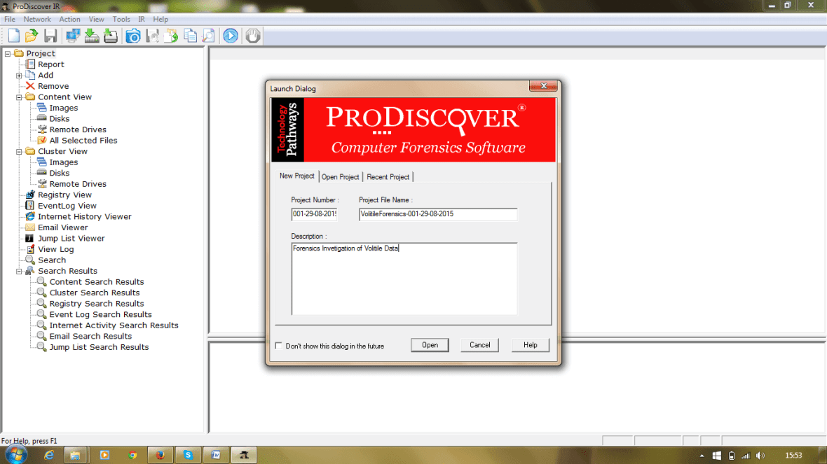 ProDiscover Incident Response Case Window