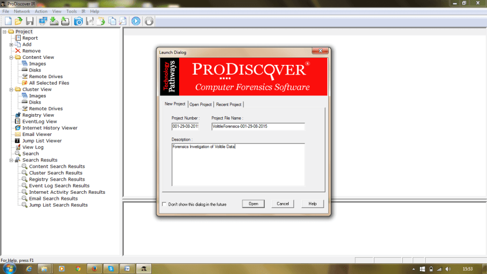 ProDiscover Incident Response Case Window