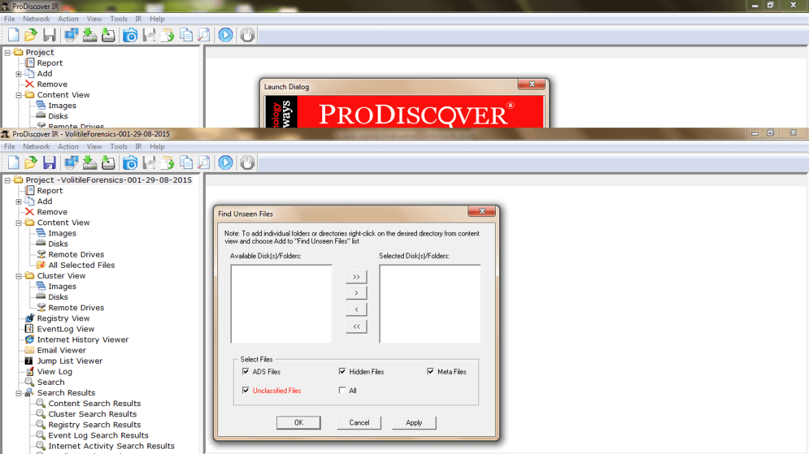 ProDiscover Incident Response Unseen files