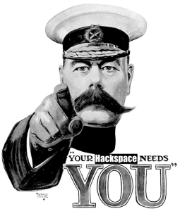 Your Hackspace Needs You - Lord Kitchener Pointing his finger