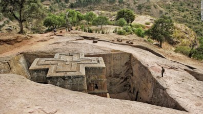 An underground church in the northern town of Lalibela carved out of limestone around the early 13th century