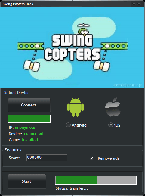Swing Copters Hack Cheat Tool