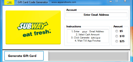 Subway Gift Card Generator We are offering Subway Gift Card Generator. In this post we are going to review you how to get the gift card for free, without paying anything. Why using your credit card and spending a lot of money if you don't need to do that? :) Here is this awesome tool, easy to use. Here is the best tool available on internet regarding this kind of store, Subway Gift Card Generator.