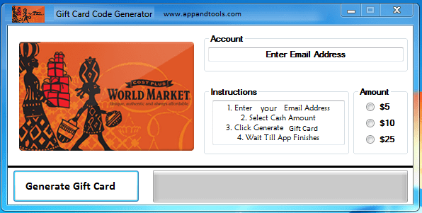 World Market Gift Card Generator