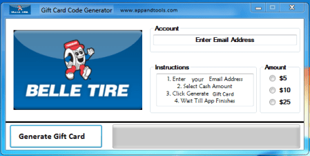 Belle Tire Gift Card Generator
