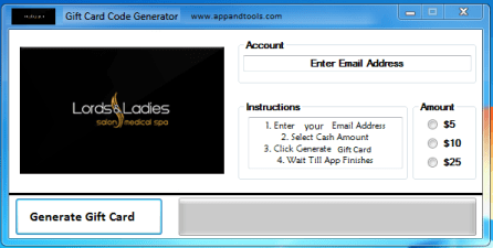 Lords & Ladies Salons Gift Card Generator