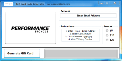 Performance Bicycle Gift Card Generator