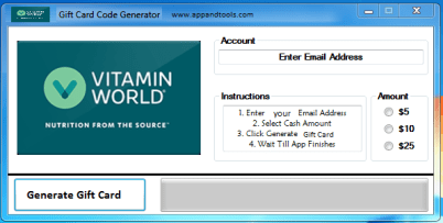 Vitamin World Gift Card Generator
