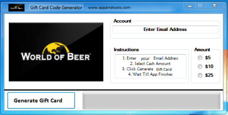 World of Beer Gift Card Generator
