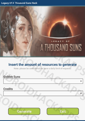 Legacy Of A Thousand Suns Hack APK Golden Suns and Credits