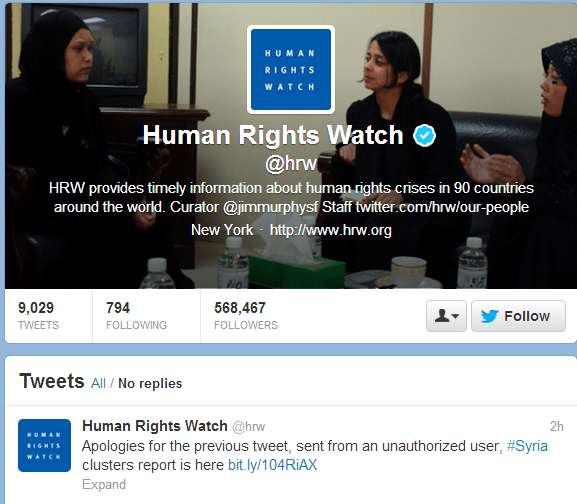 Human-right-watch-twitter-account-hacked-by-Syrian-Electronic-Army-1