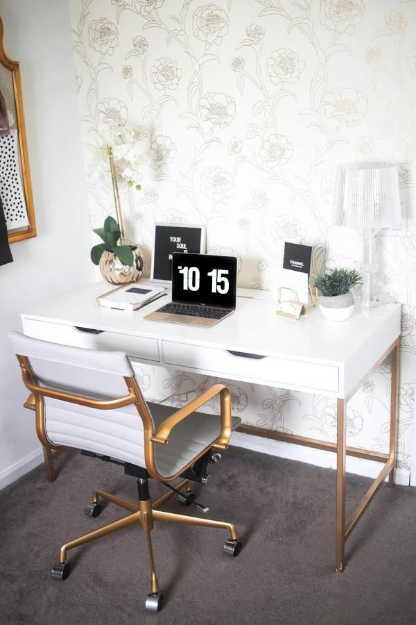 Ikea White and Gold Desk Hack