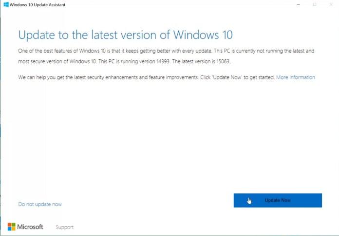 Windows 10 Creators Update Upgrade assistant tool