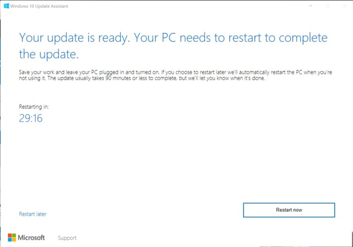 Windows 10 Creators update upgrade assistant tool auto restart