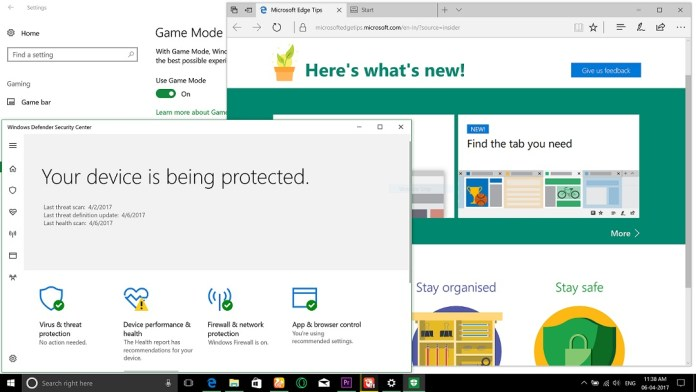 Windows 10 creators update edge browser