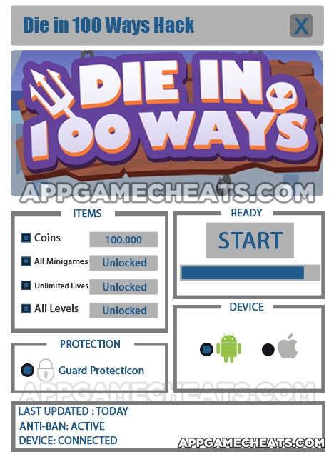 Die in 100 Ways Hack for Coins, All Minigames, Unlimited Lives2