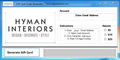 Hyman Interiors Gift Card Generator