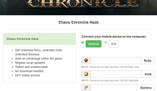 Chaos Chronicle Cheats Hack