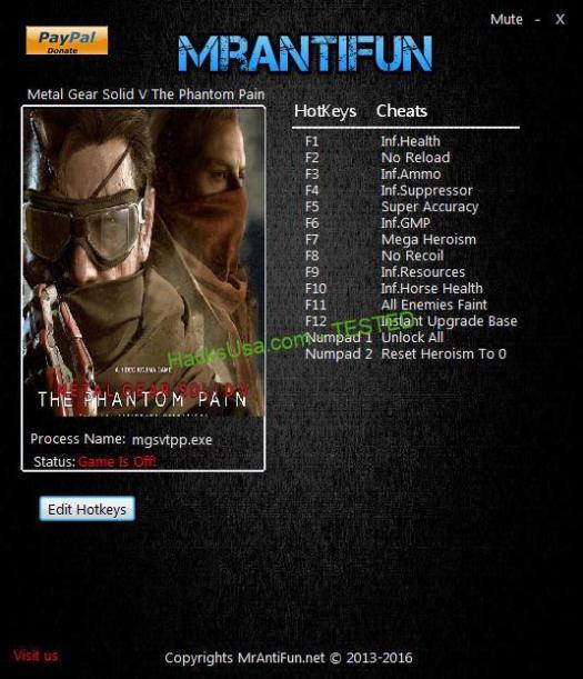 Metal Gear Solid V: The Phantom Pain v1.0 +1 Trainer