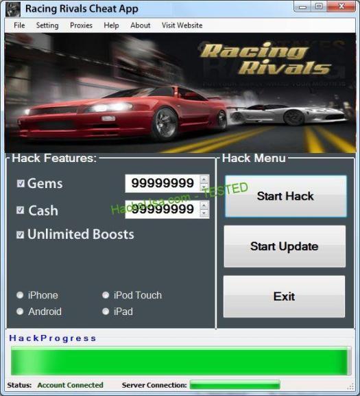 Racing Rivals Hack gems Add unlimited cash