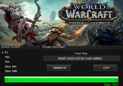 WORLD OF WARCRAFT: BATTLE FOR AZEROTH KEY GENERATOR KEYGEN FOR FULL GAME + CRACK