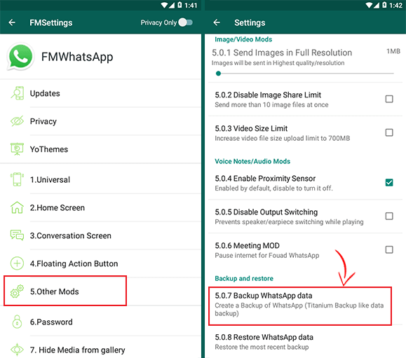 backup fm whatsapp data