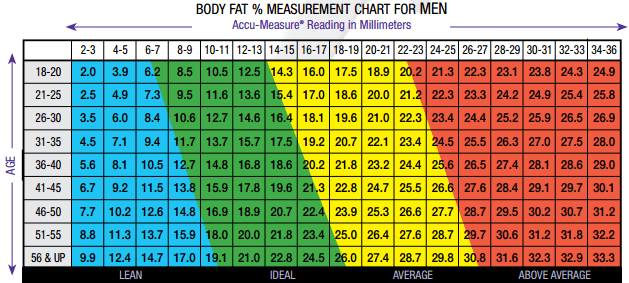 body fat abs chart