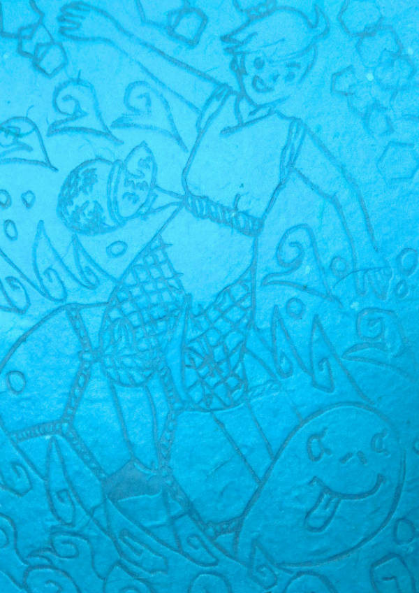 浦島太郎の波にのる亀にのる