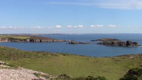 The view over Porthlysgi Bay on the walk from St Justinian to Caerfai