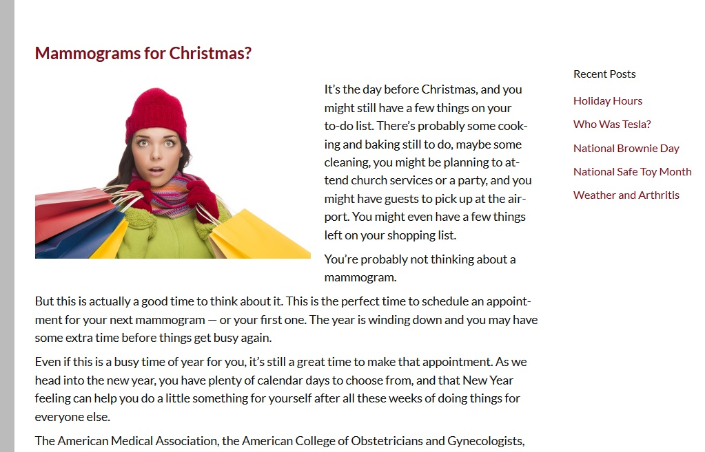 christmas is a national holiday but including it on your blog is different from letting it take over your home page