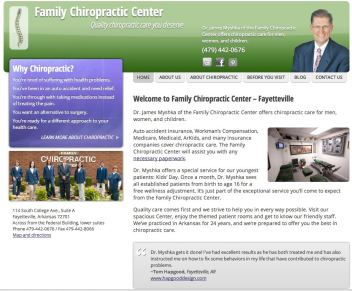 Screen grab of the Family Chiropractic Center Web site