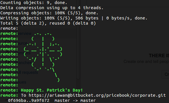 Bitbucket is celebrating Saint Patrick's Day