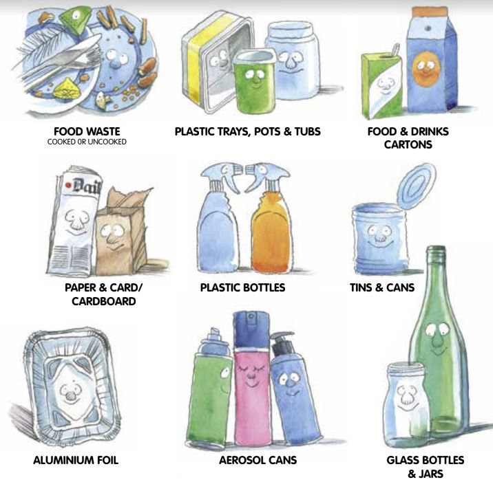Food waste, plastic waste, pots and tubs, food and drinks cartons, paper and cardboard, plastic bottles, tins and cans, aluminium foil, aerosol cans, glass bottles and jars